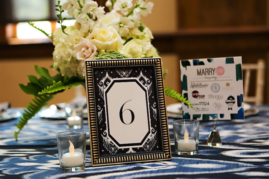 Nav Blue Table Numbers   White Wedding Floral Centerpiece with Hydrangeas, Pink Roses and Greenery and Navy Blue Linens   Over the Top Linen Rentals