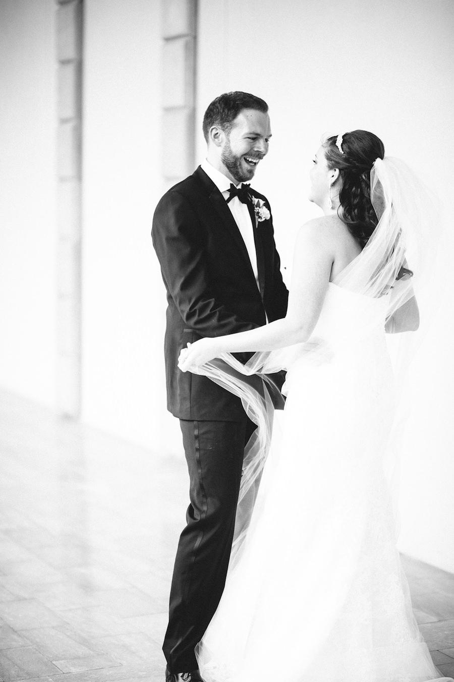 Bride and Groom First Look Wedding Portrait