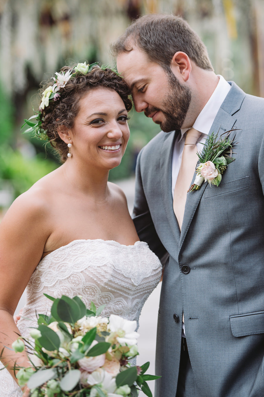 Nature Inspired Bride and Groom Outdoor Wedding Portrait with Blush and Champagne Wedding Bouquet with Greenery | Wedding Hair and Makeup Artist Michele Renee The Studio | Flowers by Andrea Layne Floral Design