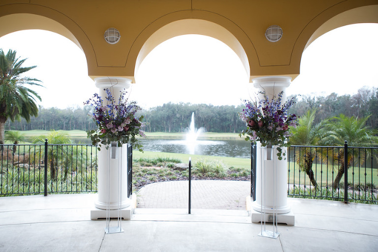 Purple and Pink Floral Outdoor Wedding Ceremony Decor | Tampa Wedding Venue Tampa Palms Golf and Country Club