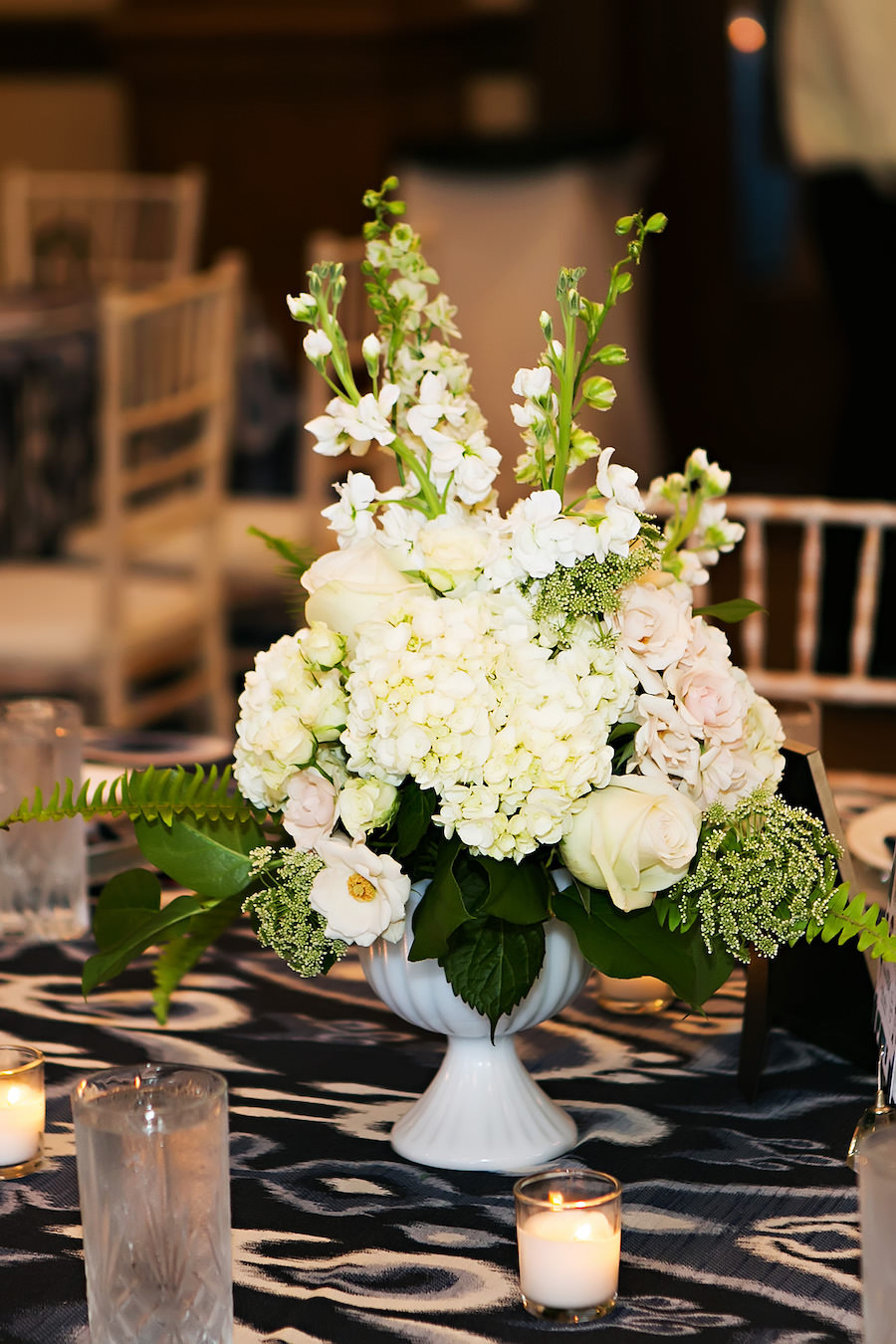 White Wedding Floral Centerpiece with Hydrangeas, Pink Roses and Greenery and Navy Blue Linens   Over the Top Linen Rentals