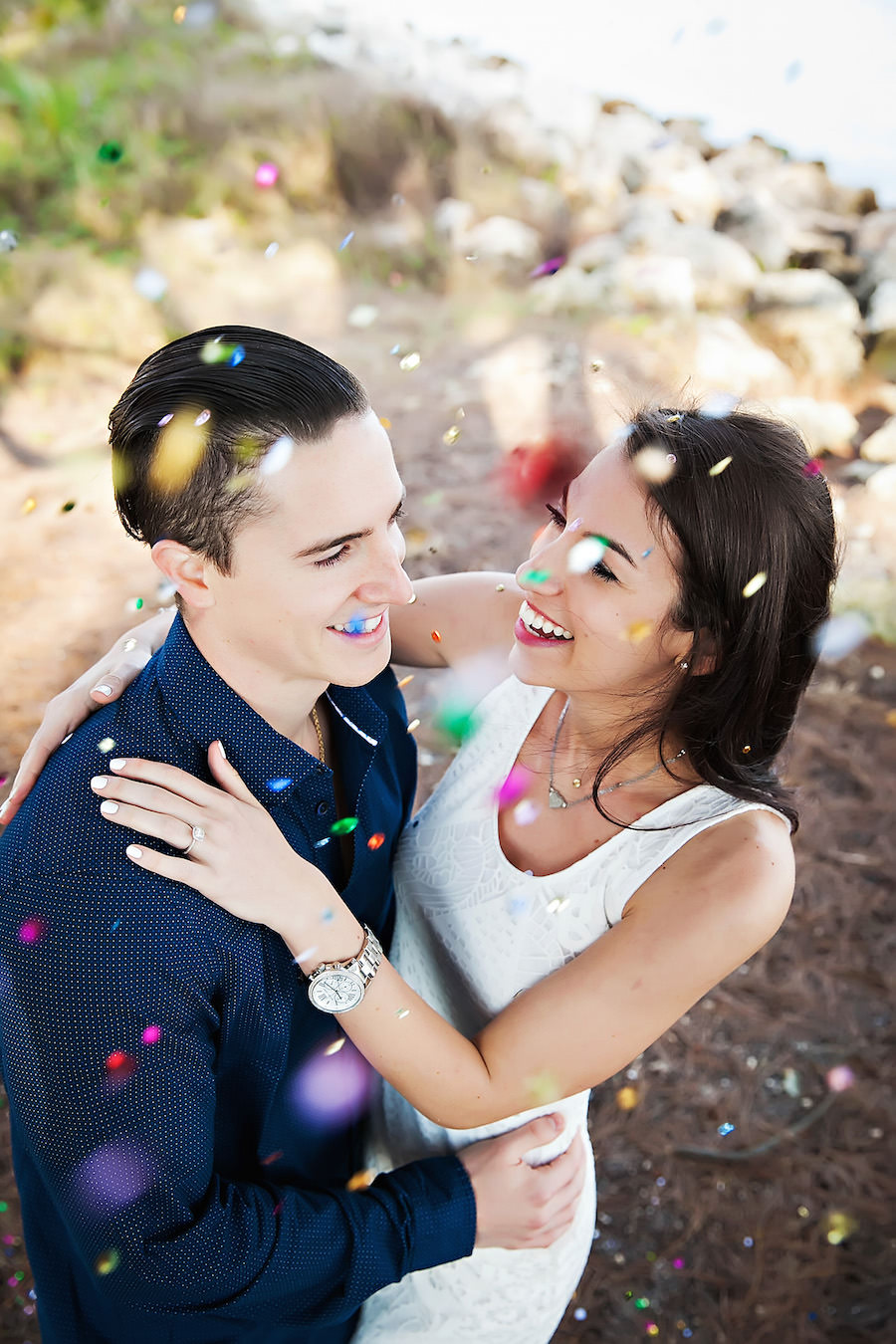 Outdoor, Waterfront Clearwater Beach Engagement Session With Confetti   Clearwater Wedding Photographer Limelight Photography