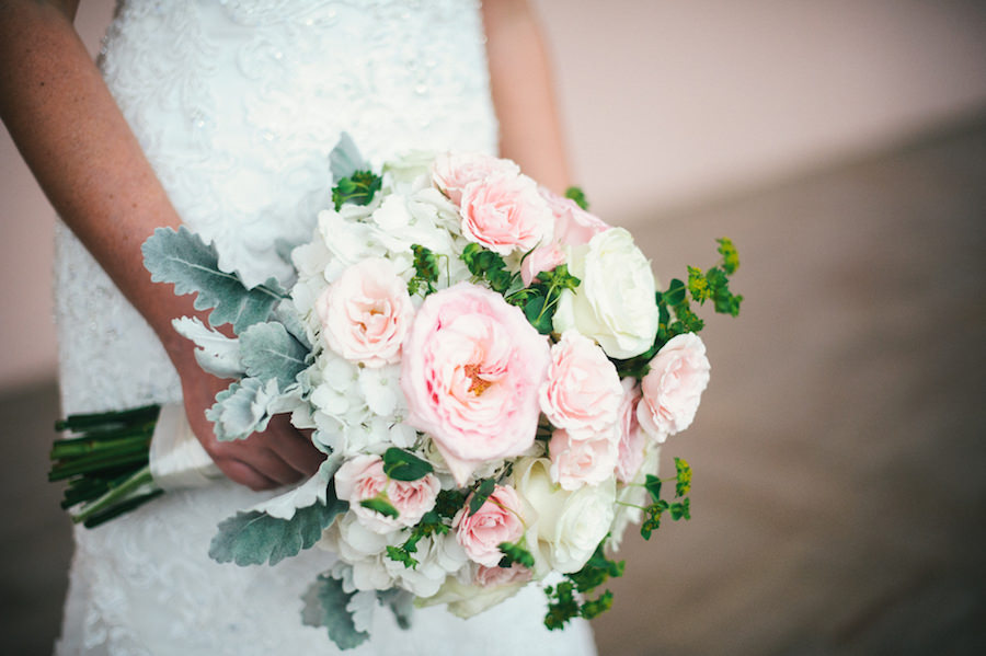 Bridal Wedding Bouquet of Flowers with Blush Pink Juliet Roses and Ranunculus, Dusty Miller and Ivory Hydrangeas