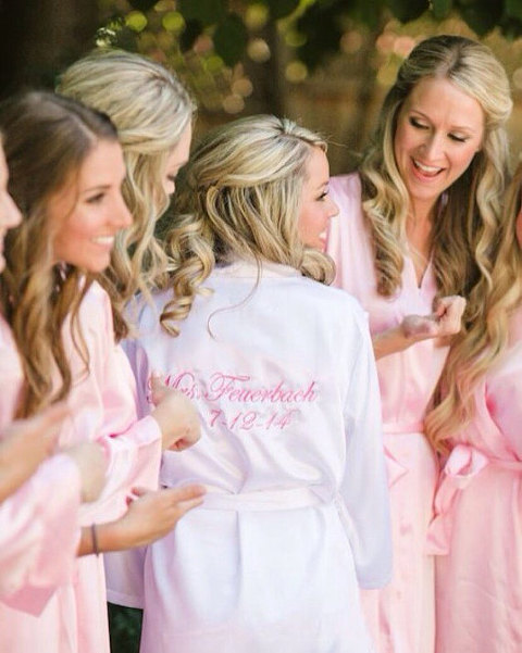 Bridesmaid Getting Ready Outfit Trends | Silky Satin Embroidered Robes
