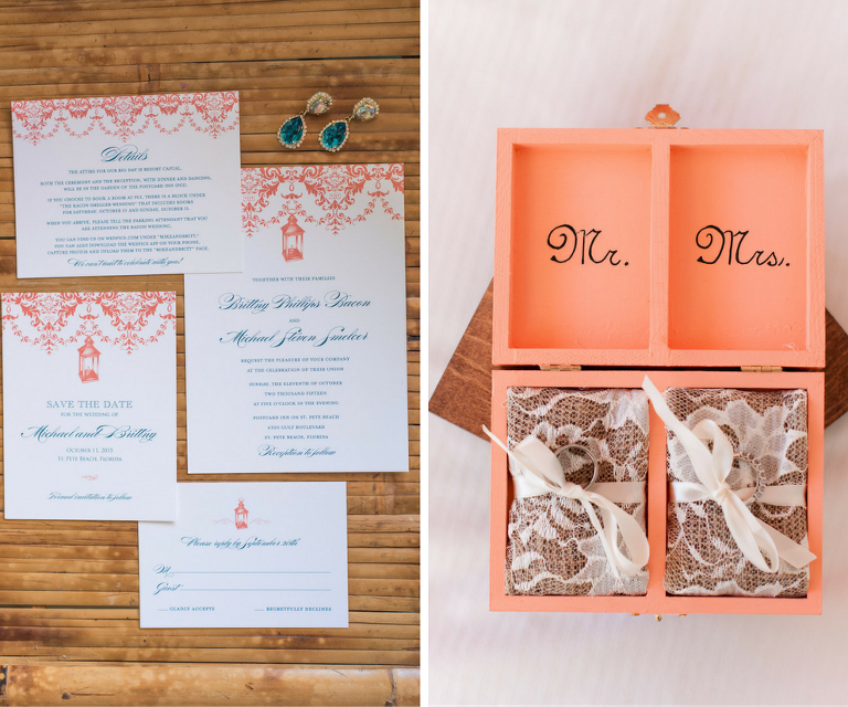 Coral and Blue St. Petersburg Wedding Invitation Stationary and Coral Mr and Mrs Wooden Wedding Band Boxes | St. Petersburg Wedding Photographers Caroline and Evan Photography