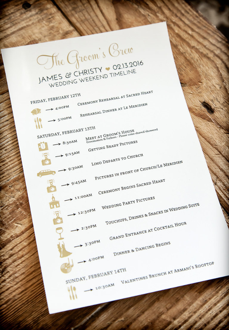 Wedding Weekend Timeline Stationery