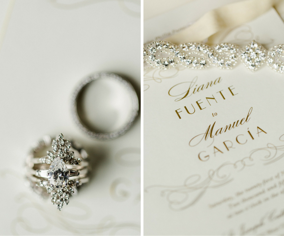 Bridal Wedding Band and Pear Shaped Engagement Ring Portrait on Gold Wedding Invitation | Tampa Wedding Photographer Ailyn La Torre Photography