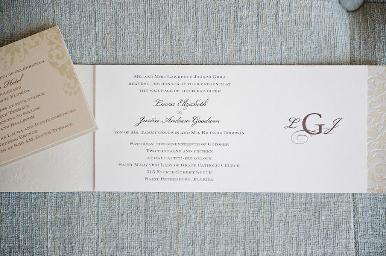 Elegant Ivory Wedding Invitation with Purple Text and Monograph with Gold Enclosures | Tampa Wedding Photographer Marc Edwards Photographs