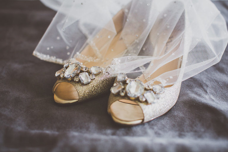 Gold, Glitter Open Toe Wedding Shoes with Crystal, Rhinestone Accents
