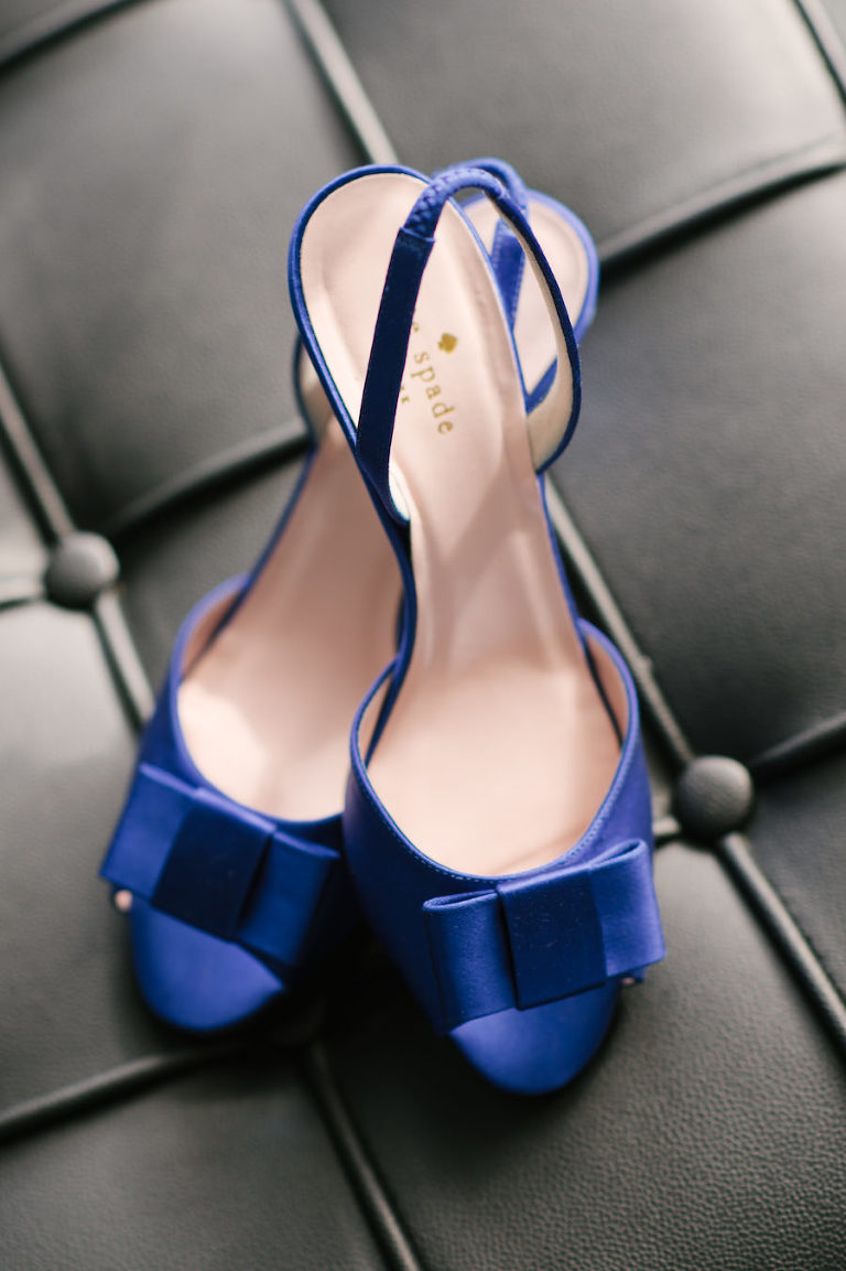 Royal Blue Open Toed Kate Spade Wedding Shoes with Bow and Backstrap