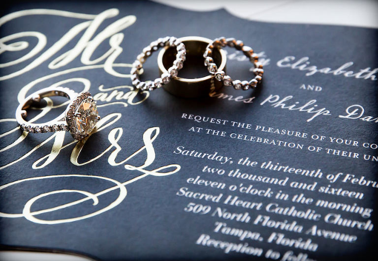 Wedding Bands and Engagement Ring on Black Wedding Stationery Invitation