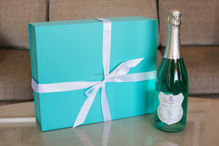 Wedding Day Tiffany's Gift Box and Champagne Bottle