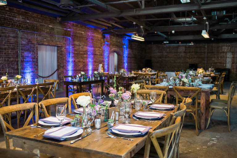Rustic Wedding Reception with Ivory, Blush and Lavender Centerpieces | Tampa Wedding Venue CL Space in Ybor City | Flowers by Andrea Layne Floral Design | Linens by Kate Ryan Linens | Chairs and Tables by A Chair Affair
