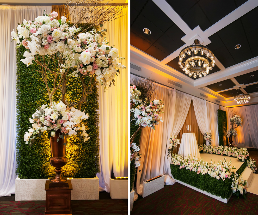 Traditional, Indoor Wedding Ceremony with Large Manzanita Trees, Rose Floral Arrangements and Rose-Lined Altar   St. Petersburg Wedding Photographer Limelight Photography