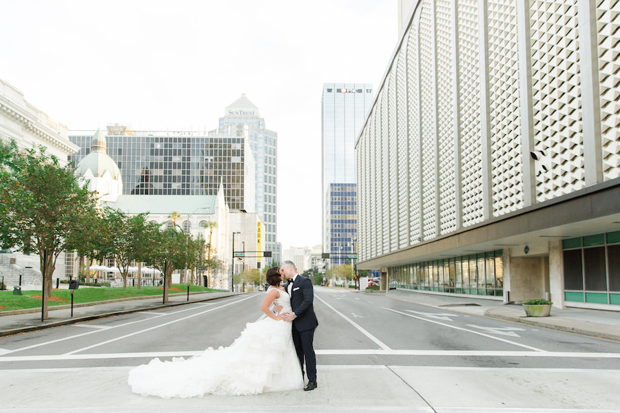 Downtown Tampa Bride and Groom Wedding Portrait in Ivory Mermaid Ines DiSanto Wedding Dress from Isabel O'Neil Bridal | Liana Fuente Wedding Portrait | Tampa Wedding Photographer Ailyn La Torre Photography