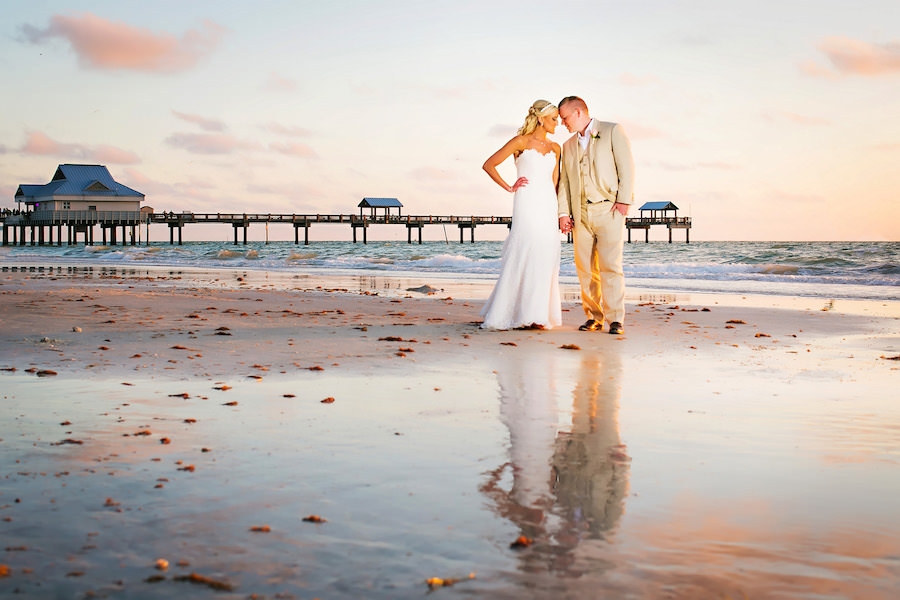 Bride and Groom, Outdoor, Waterfront, Hilton Clearwater Beach Wedding Portrait | Clearwater Wedding Photographer Limelight Photography