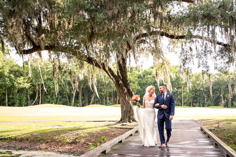 Bride and Groom Wedding Portrait on Boardwalk at Tampa Wedding Venue Tampa Palms Golf and Country Club
