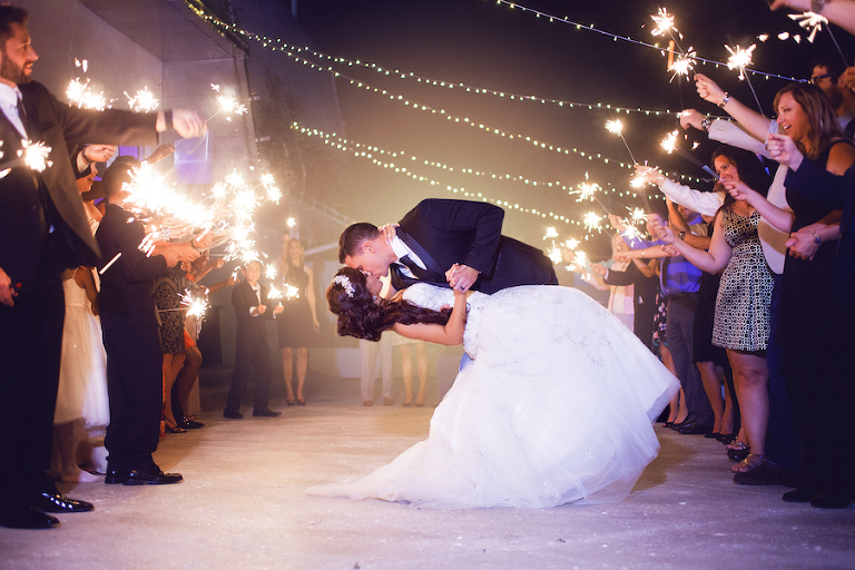 Bride and Groom Outdoor Wedding Sparkler Exit | Sarasota Wedding Planner Jennifer Matteo Events