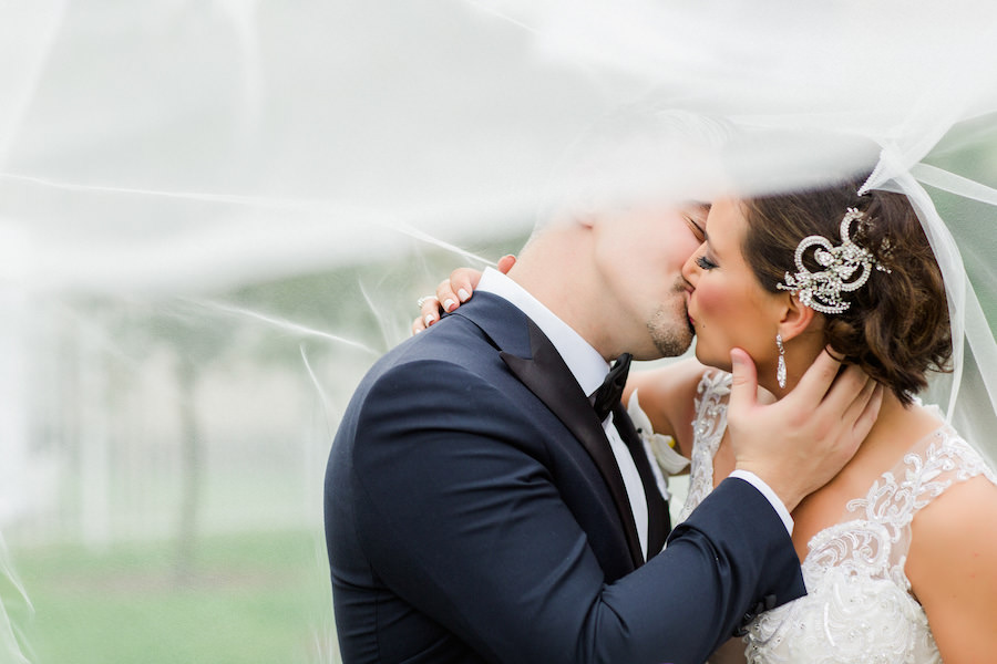 Tampa Bride and Groom Wedding Portrait in Black Tuxedo and Ivory Beaded Applique Ines DiSanto Wedding Dress | Liana Fuente Wedding Portrait | Tampa Wedding Photographer Ailyn La Torre Photography