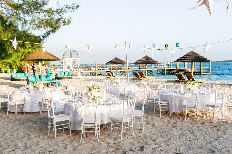 Outdoor Private Beach Wedding With White Linens And Chiavairi Chairs Inspiration Sandals
