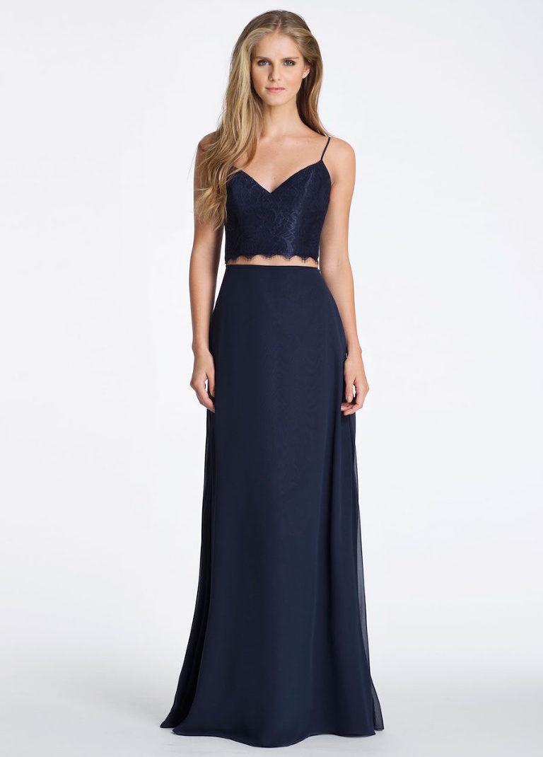 e8e78f8dad Navy Hayley Paige Lace and Chiffon Wedding Bridesmaid Dress