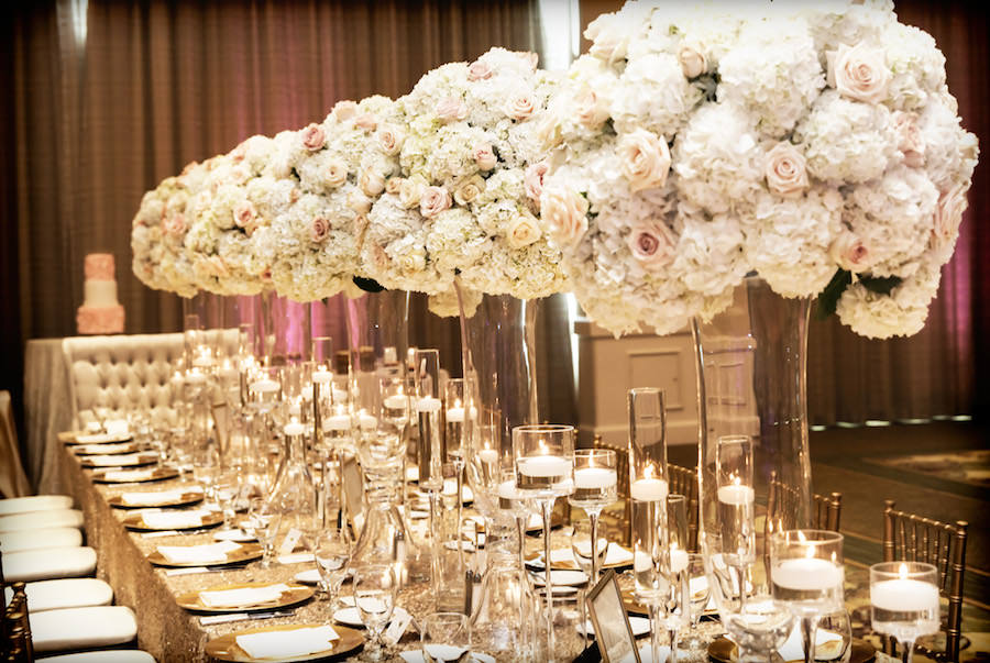 Wedding Reception Table Decor With Tall Glass Pink And Ivory Floral