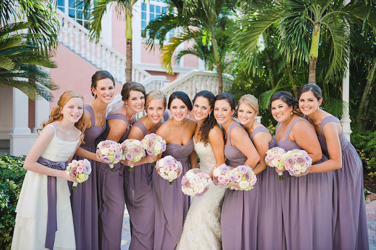 Tampa Bridal Party Wedding Portrait | Purple Bella Bridesmaids Dresses and Ivory Lace Strapless Sottero and Midgley Wedding Dress with Pink, Lilac and Cream Rose Wedding Bouquet | Tampa Wedding Photographer Marc Edwards Photographs