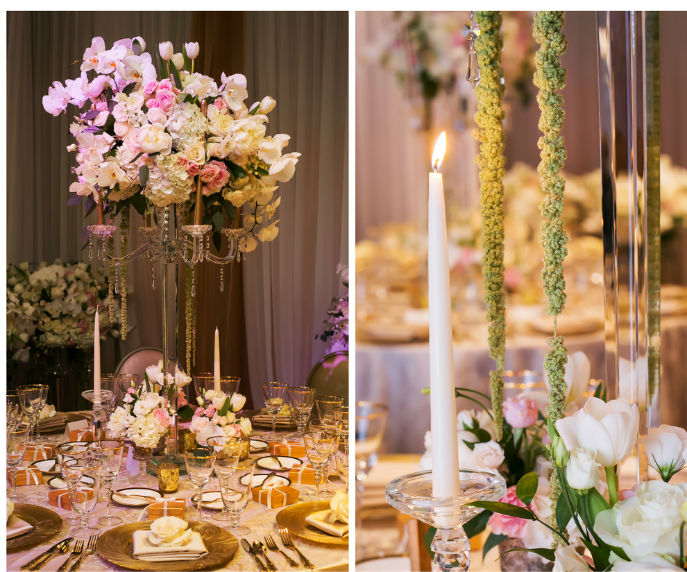 Tall White Hydrangea and Pink Rose Wedding Centerpiece Flowers in Crystal Candelabra Vase   St. Petersburg Linen Rentals by Over The Top Linens   Glassware, China and Flatware by A Chair Affair   Photography by Limelight Photography