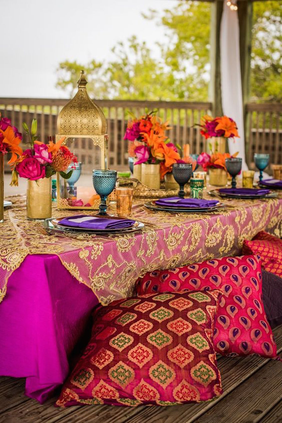 Indian Inspired Wedding Recpetion with Luxurious Gold Embroidered Table Overlays and Fuscia Tablecloths | Tampa Bay Wedding Rental Linens by Connie Duglin Specialty Linens