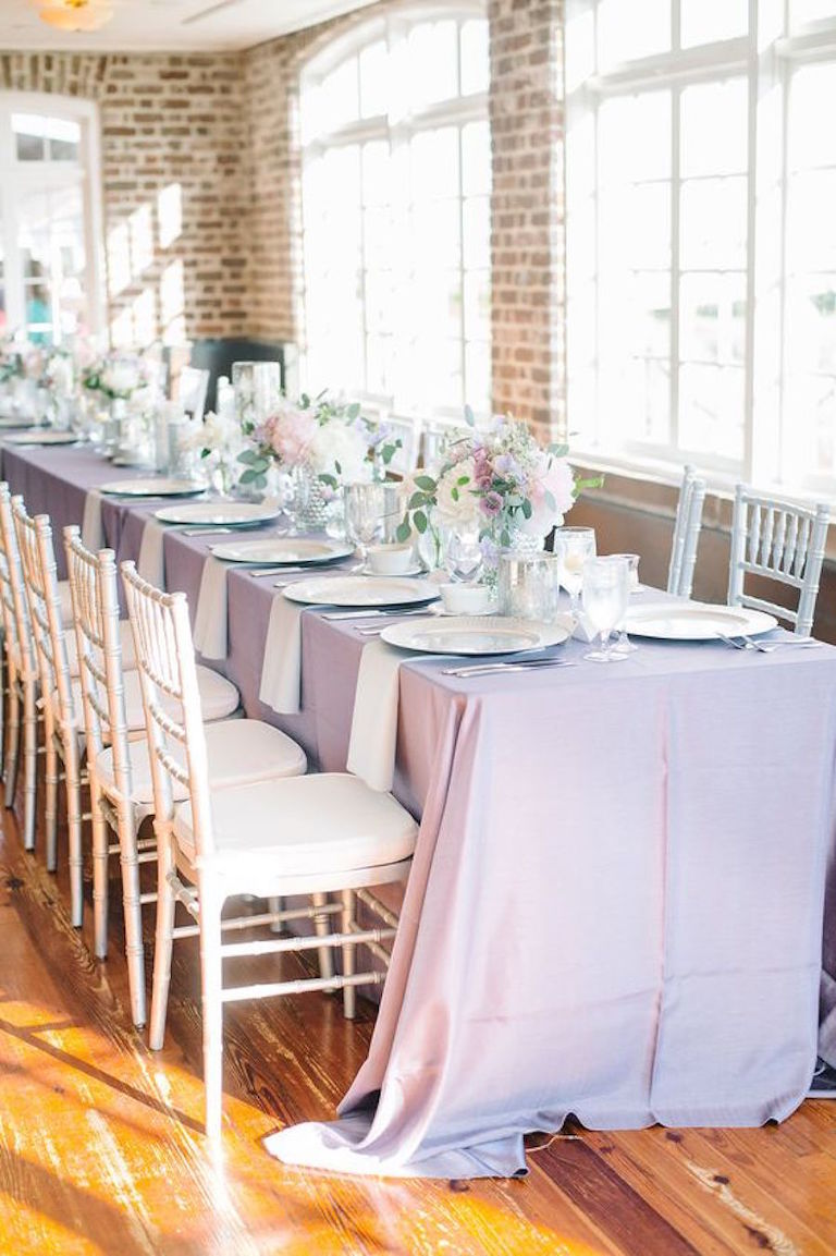 Lilac, Light Purple Wedding Table Linens with Ivory Chiavari Chairs | Tampa Bay Wedding Rental Linens by Connie Duglin Specialty Linens
