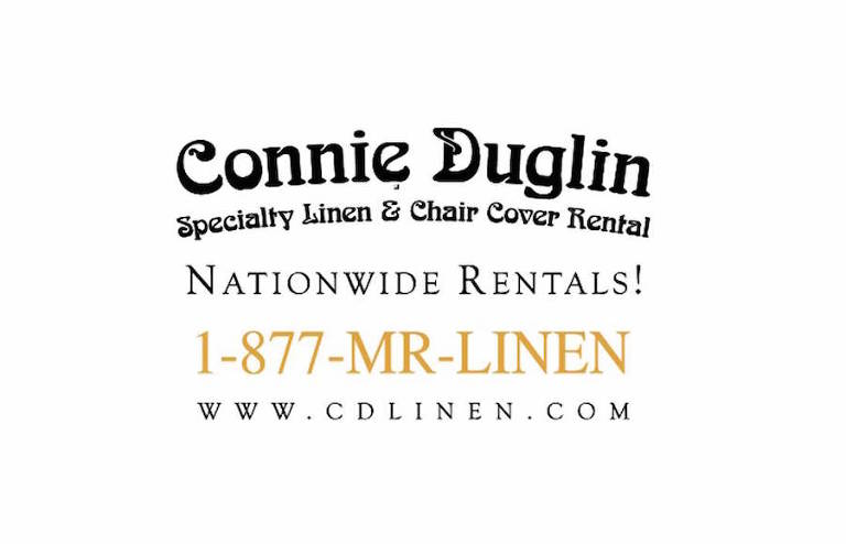 Tampa Bay Wedding Rental Linens and Chair Covers by Connie Duglin Specialty Linens Logo