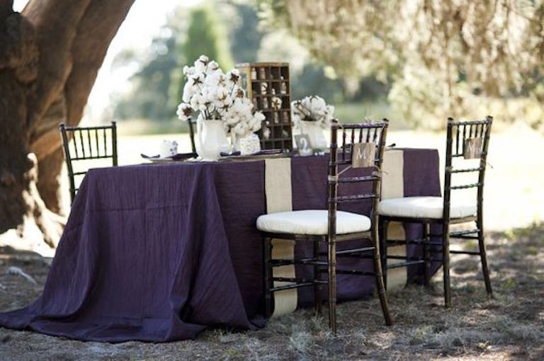 Dark Purple Linens for Outdoor Wedding Reception with Brown Chiavari Chairs and Cotton Centerpiece | Tampa Bay Wedding Rental Linens by Connie Duglin Specialty Linens