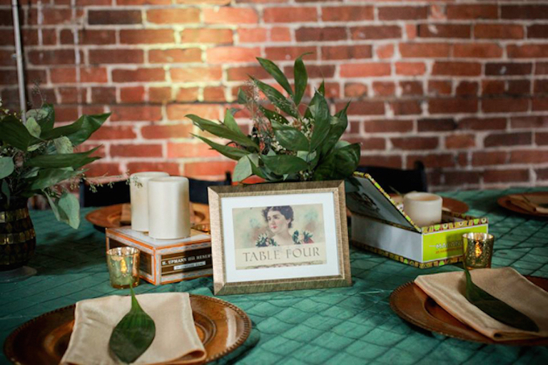 Cuban Inspired Wedding Reception Decor with Cigar Box Centerpiece and Emerald Tablecloth |Tampa Bay Rental Linens by Connie Duglin Specialty Linens