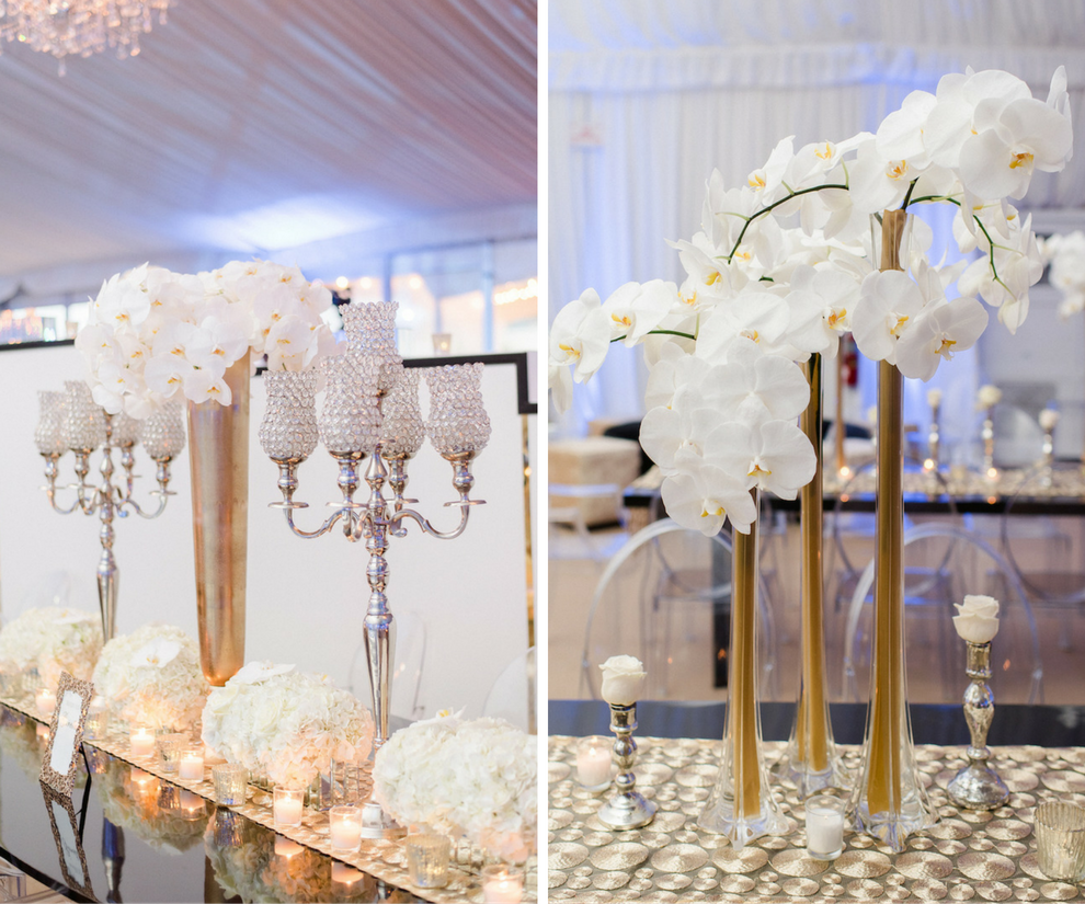 Tall White Orchid Wedding Centerpiece Flowers in Gold Vase on Specialty Linen with Crystal Candelabras | Downtown Tampa Wedding Florist Andrea Layne Floral Design | Linens by Connie Duglin Linens | Photography by Ailyn La Torre Photography