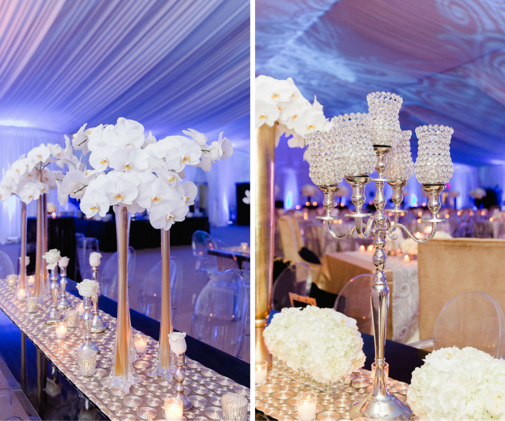 White and Gold Wedding Reception Décor on Gold Specialty Linens by Connie Duglin Linens with Tall, White Orchid Centerpieces and Crystal Candelabras | Arturo Fuente Cigar Daughter Wedding | Liana Fuente Wedding Reception Décor | Wedding Flowers by Andrea Layne Floral Design | Downtown Tampa Wedding Photographer Ailyn La Torre Photography