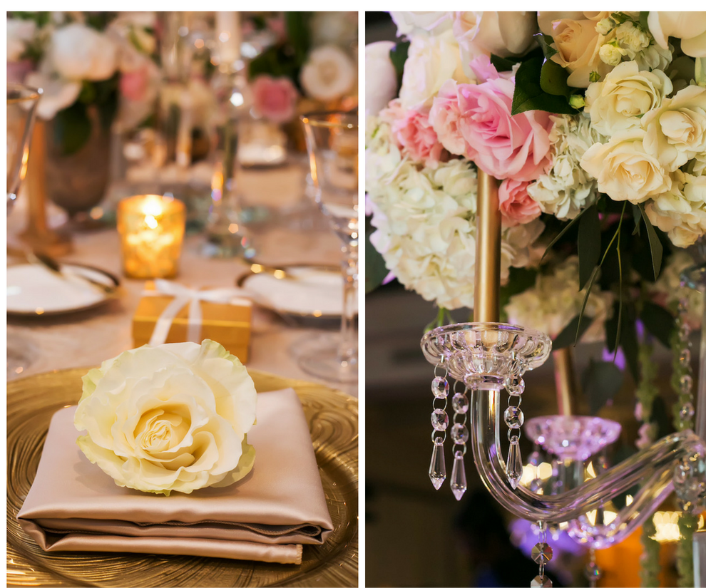 Elegant Gold and Ivory Wedding Reception with Gold Chargers, Gold Satin Napkins and Crystal Chandelier Centerpieces with Pink and Ivory Roses   St. Petersburg Linen Rentals by Over The Top Linens   Glassware, China and Flatware by A Chair Affair   Photography by Limelight Photography