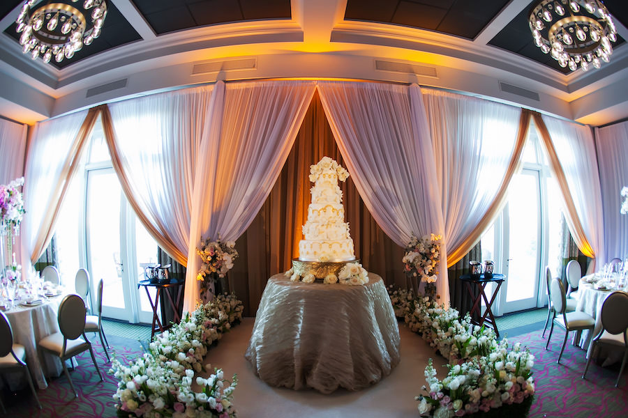 Traditional Ivory Wedding Reception with Five Tier Ivory and Gold Round Wedding Cake at Downtown St. Petersburg Wedding Venue The Birchwood   Photography by Limelight Photography   Custom Lace Linens by Over The Top Linens
