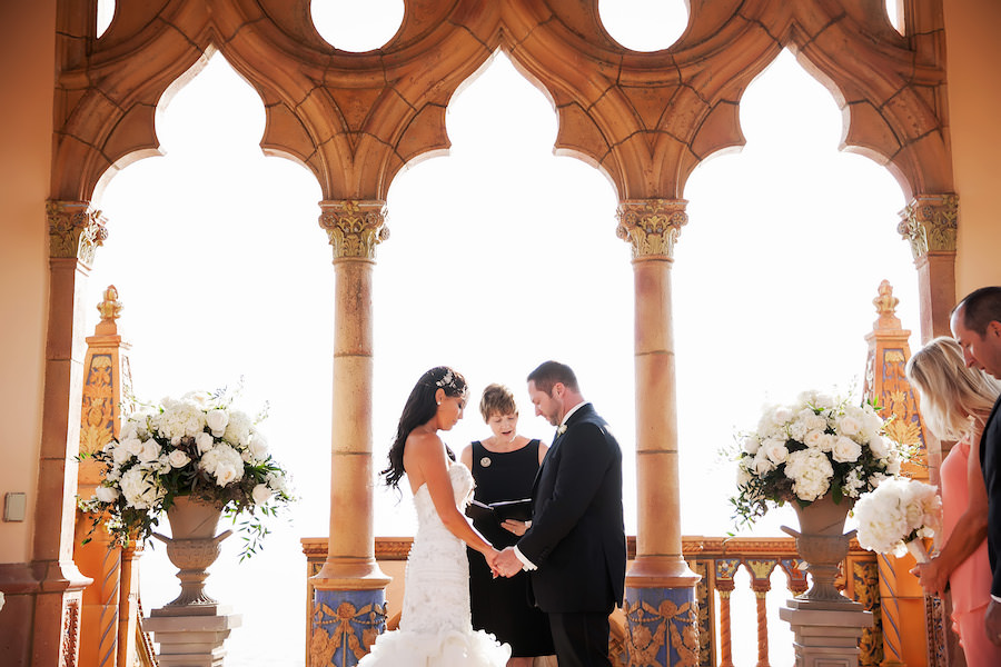 Bride and Groom Exchanging Wedding Vows | Outdoor, Waterfront Wedding Ceremony | Sarasota Wedding Venue Ca' d'zan Ringling Mansion Belvedere Tower | Limelight Photography