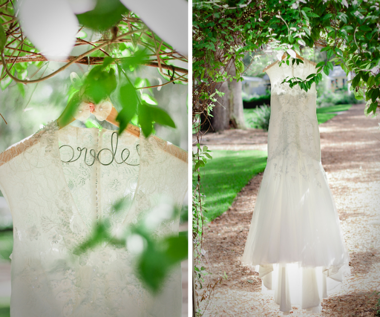 Ivory, Lace David's Bridal Wedding Dress on Customized Bride Wedding Hanger Hanging From Tree