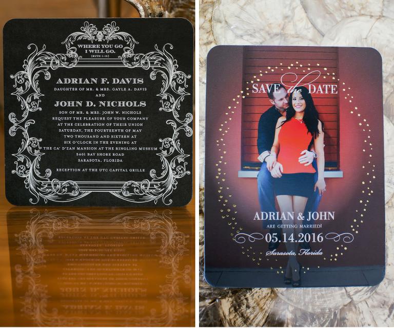 Black and White Save the Date Wedding Invitation Stationery for Sarasota Wedding