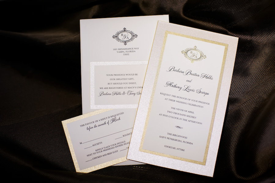 Ivory and Gold Wedding Invitation Suite with Monogram on Ivory Linen with Black Text   Downtown St. Petersburg Wedding Photographer Limelight Photography