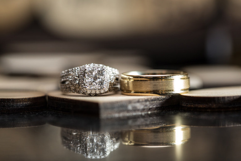 Bride and Groom Engagement Ring and Wedding Band