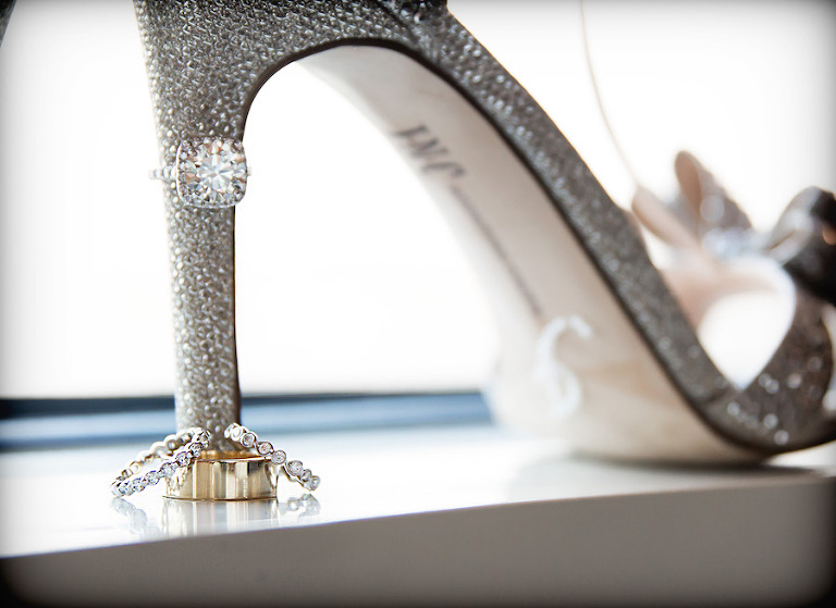 Wedding Bands and Engagement Ring on Crystal, Rhinestone Wedding Shoes Bridal Wedding Heels