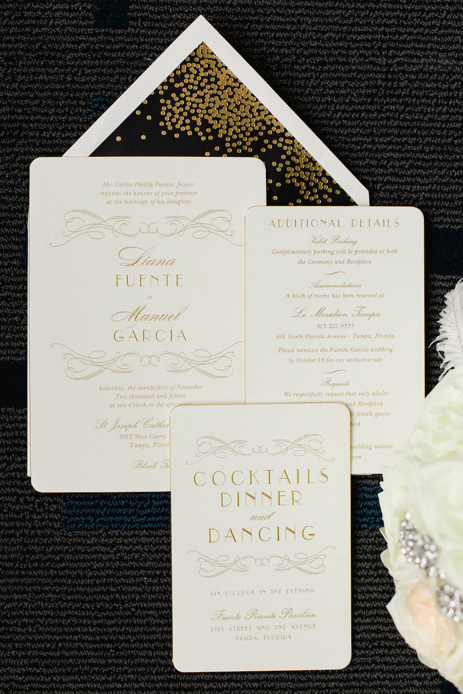 Elegant, Ivory and Gold Wedding Invitation Suite with Art Deco Theme | Tampa Wedding Photographer Ailyn La Torre Photography