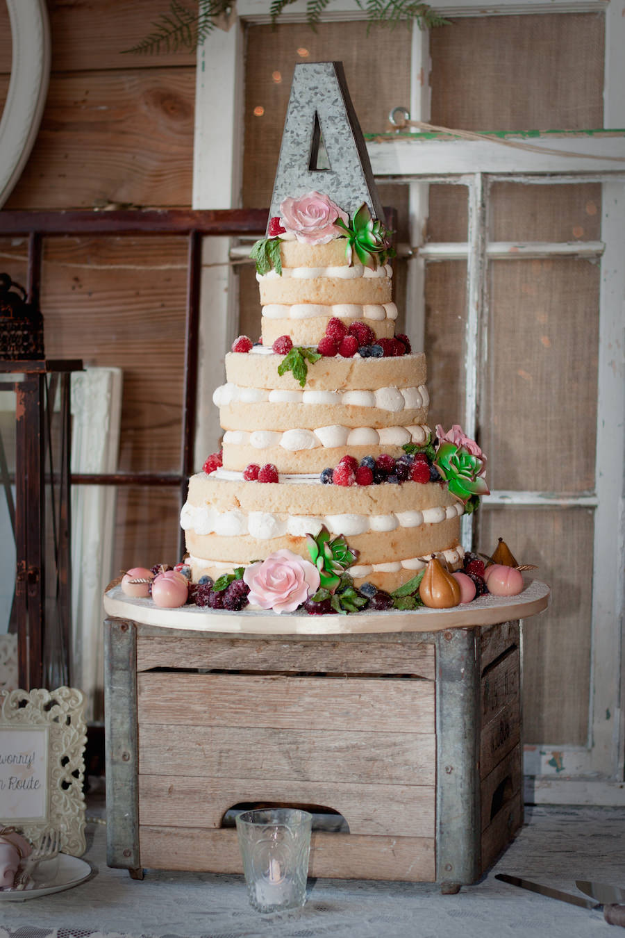 Three Tiered, Round, Naked Cake with Berry Accents and Monogram Intial Cake Topper | Tampa Wedding Cake and Bakery Alessi Bakery