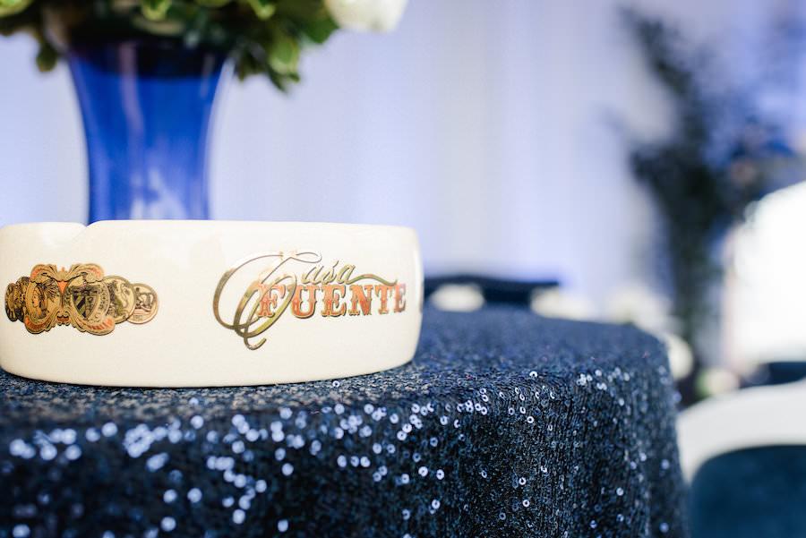 Blue Sequined Wedding Linen with Custom Cigar Bar Ashtray
