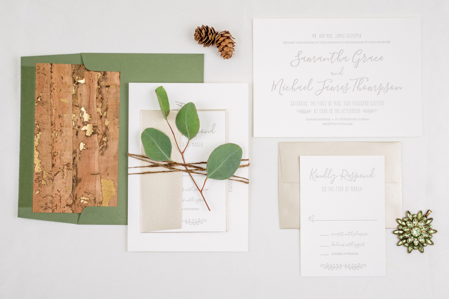 Natural, Organic Letterpress Wedding Invitation Suite with Green Envelopes and Wood Liner | Tampa Wedding Invitations by A&P Design Co | Fall Wedding Invitation Trends