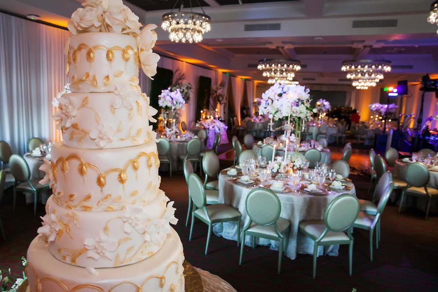 Traditional Wedding Reception with Five Tier Ivory and Gold Round Wedding Cake   St. Petersburg Wedding Photographer Limelight Photography   Custom Lace Linens by Over The Top Linens