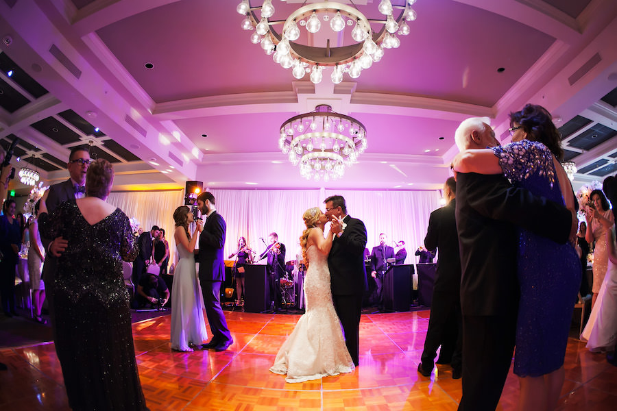 Bride and Groom First Dance on Wedding Day Portrait by Downtown St. Pete Wedding Photographer Limelight Photography