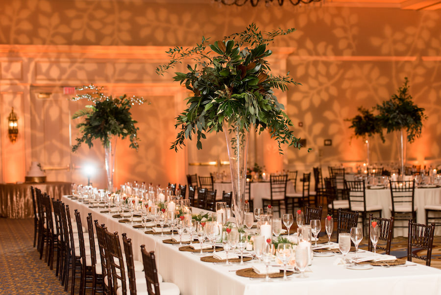 Indoor Ballroom Wedding Reception Decor With Tall Greenery Centerpieces In Gl Vases Bamboo Chiavari Chairs And Candlelight Tampa Venue